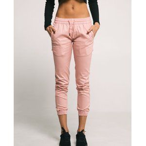 Fairplay Runner Drawstring Twill Jogger Pants Pink